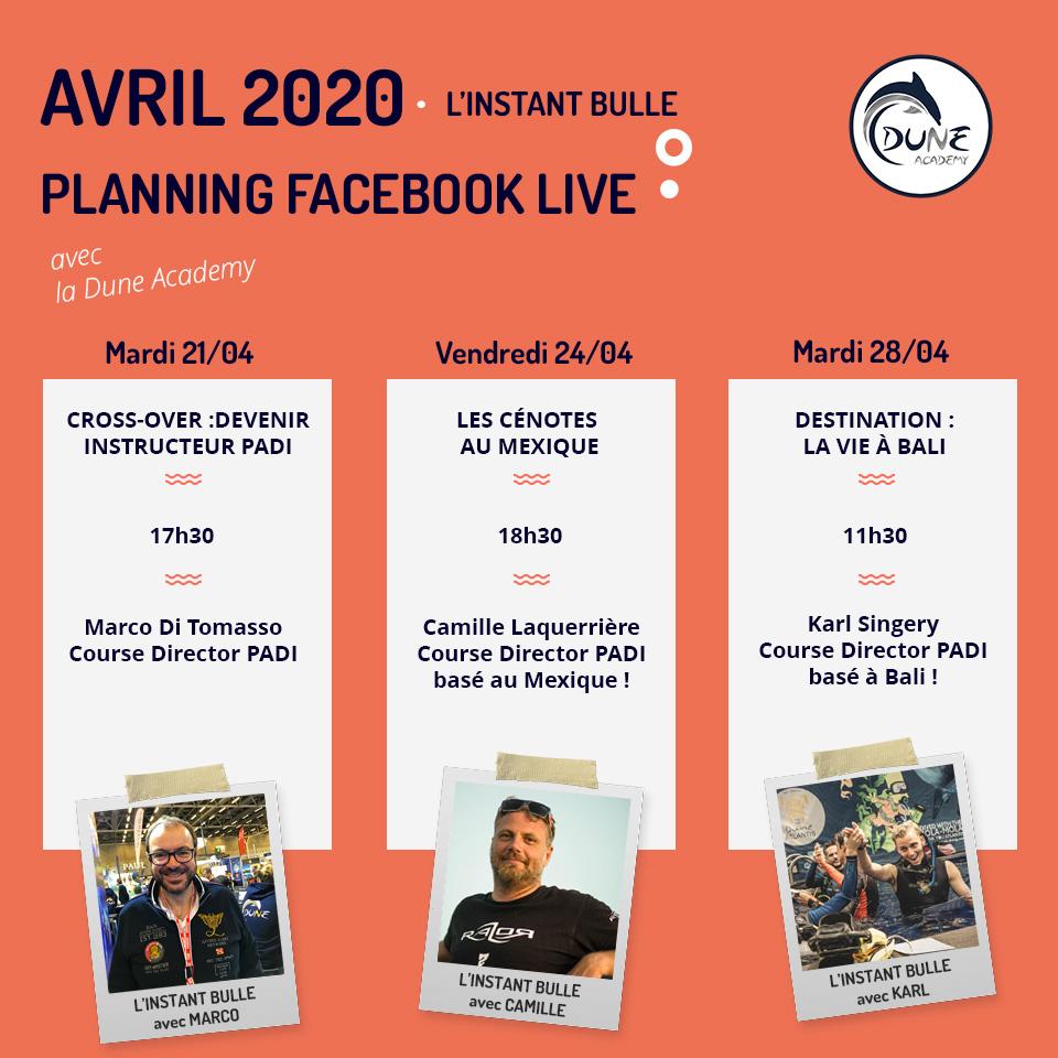 Planning Facebook live avril dune academy